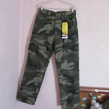 NWT~ MEN'S STANLEY CANVAS/COTTON FLANNEL LINED CAMOUFLAGE  CARGO PANTS  34 x 32
