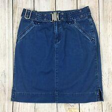 Vtg 90's Jean Mini Skirt Belted Liz Claiborne High Waist