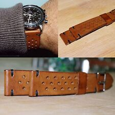 20 mm handmade veg tanned Natural Brown Leather Racing Rally watch Strap