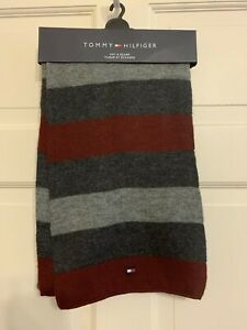 """Tommy Hilfiger Scarf Burgundy/Gray Hemmed Ends 68"""" x 10"""" Faux Wool Acetate"""