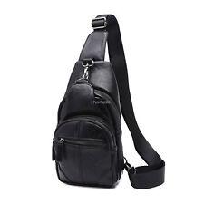 Vintage Cow Leather Sling Chest Bag Casual Travel Cross Body Shoulder Bag