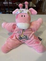 "Plush 12"" Harley Davidson Soft Baby Toy Rattle Toy Pink Giraffe Born To Ride"