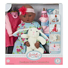 "My Sweet Love 18"" Doll and Accessories Set with Plush Bunny Bottle Brand New"