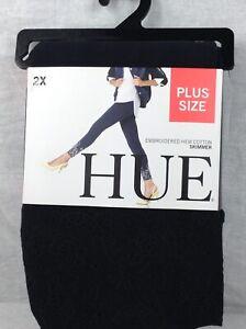Hue Black Embroidered Floral Hem Cotton Skimmer Leggings 2X (20w-22w)