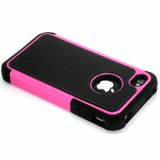 New Hot Pink Heavy Duty Protection Hard Case + Screen Guard For iPhone 4 4S 4G