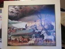 "31"" X 35"" OFFSET LITHOGRAPH MATTED PRINT FOLK ART PAINTING NOAH'S ARK & ANIMALS"
