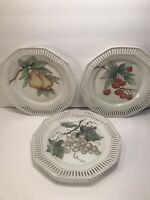 3 VINTAGE HAND PAINTED PLATES RETICULATED BORDER GERMANY ARTIST SIGNED GOLD TONE