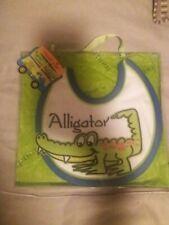 """Mud Pie  Baby Boy Bib Alligator Zipper Mouth Sz 12"""" x 8"""" NEW"""