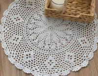 "18"" Round Crochet White Round Doily French Country Table Runner Flower Vase Mat"