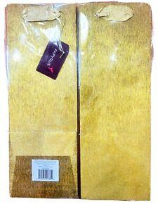 New Set of 2 Wine Bottle Gift Bags plastic wrap Gold Glitter 14×5×5
