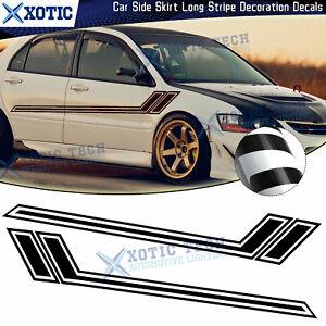 JDM Black Car Side Door Fender Hash Stripes Sticker For Mitsubishi Lancer EVO