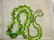 collana vintage in vetro  MURANO originale 100%, verde mela finitura iridescente