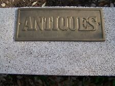 """Brass Plaque Type """"Antiques"""" Sign (Door Style)-A 498"""