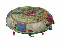 Footstool Embroidered Pouf Cover Ottoman Round Patchwork Pouffe