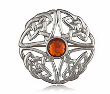 CELTIC KNOT AMBER STONE BROOCH Beautiful British Made Pewter Ladies Boxed Gift