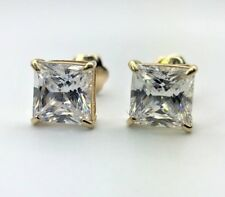 2.0CT Princess Cut Created Diamond Studs Earring 14K White Gold Square Solitaire