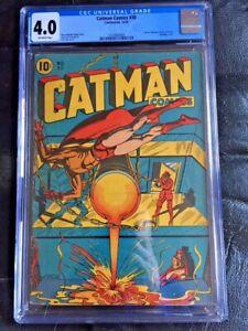 CATMAN COMICS #30 CGC VG 4.0; OW; SCARCE; L.B. Cole bondage cvr!