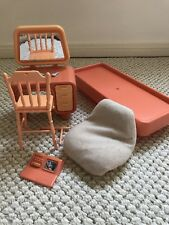 Vtg 70's Barbie Doll DREAM HOUSE Pink Furniture Lot Bed Vanity Night Stand Chair