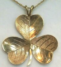 Authentic 375 9 K Solid Gold Irish Shamrock Clover Pendant / Charm For Good Luck