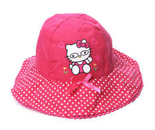 Kids Girls Children HELLO KITTY Cute 100% Cotton Sun Bucket Cap Hat 1-2 4d07ce1617b2