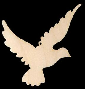 Dove Bird Shape Christmas Ornament Wood Cutout #746-4