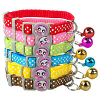 1.0cm Wide Nylon Kitten Kitty Cat Collar with Bell Various Colors 17-28cm Ajust