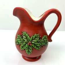 Rare Vintage Lefton China Christmas Holly Creamer Pitcher Red 1950s  Japan