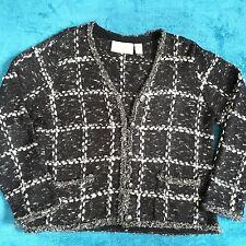 Design Options Sweater Wool Silk Blend  Philip Jane Gordon Gray Front Pockets L