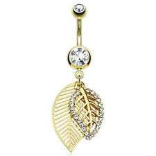 GOLD Plated Jeweled LEAF Dangle BELLY Button NAVEL RINGS Studs Piercing Jewelry