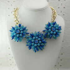 """Banana Republic BR Shades of Blue Chunky Beaded Flower 18"""" Gold Tone Necklace"""