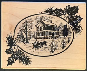 Stampendous White Christmas Winter Horse Carriage Snow House Holly Rubber Stamp