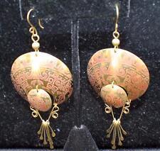 Signed Laton Echo en Mexico Copper Color Etched Dangle Pierced Earrings #1