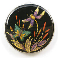 Jeweled antique look dragonfly, butterfly compact mirror, enamel crystals in blk