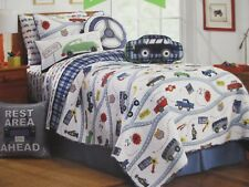 CHARLES STREET Kids Car Road Trip Blue White Plaid 8pc Quilt Pillow Set - Twin