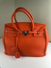 New Gorgeous TANGERINE BIRKIN STYLE BAG W/LOCK AND SILVER ACCENTS 35CM