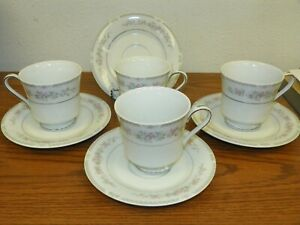 4 ~ WELLINGTON by Celebrity Fine China of Japan Footed Cup & Saucer Sets