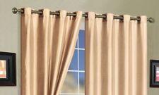 "Grommet Curtain Panel Pair Faux-Silk 58""x84"" - Beige"