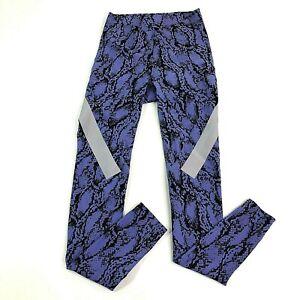Adidas Stella McCartney Sz XS Black Purple Yoga Snakeskin Athletic Tights