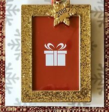 """New Christmas Ornament Picture Frame ~ Unique Glittery Gold W/ """"2019"""" Charm"""