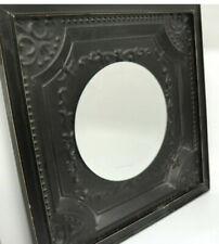 Shabby Chic Farmhouse Fleur de Lis Beveled Mirror Square Metal Frame 16� x 16�