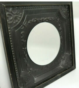 "Shabby Chic Farmhouse Fleur de Lis Beveled Mirror Square Metal Frame 16"" x 16"""