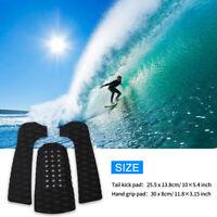 3Pcs Surfing Surfboard Anti-Slip Traction Pad Tailpad Deck Grip Black EVA New%