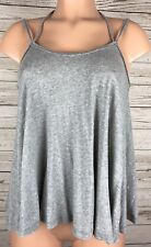 We The Free People XS Grey Stretch Knit Swing Spaghetti Strap Blouse Shirt b3
