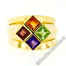 18K Yellow Gold Square Amethyst Garnet Citrine Peridot 3 Stackable Puzzle Ring