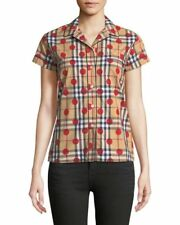$295 NWT Receipt Burberry Vireo Dot-Check Shirt Short Sleeve Women's 8 Ship Free