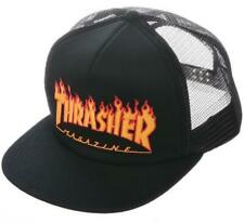 Thrasher Men's Embroidered Flame Logo Mesh Snapback Hat Black Clothing Appare
