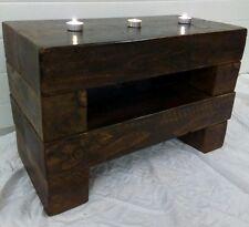 60cm Dark Chunky Rustic Pine Oak Walnut LCD TV Stand Cabinet Coffee End Table