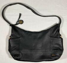 The Sak Kendra Black pebble Leather hobo Shoulder Bag antique gold Hardwear EUC