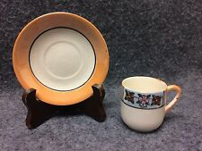 TN Japanese Demitasse Cup & Saucer Orange Lustre Ware w/ Floral Design
