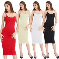 Women Ladies Comfy Sleeveless Spaghetti Straps Cami Slip Bodycon Under Dress